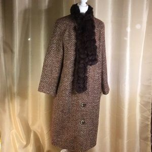 GUC Harve Bernard Brown Wool Blend Winter Coat, 14
